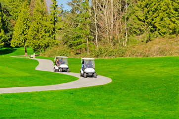Golf cart over green and curved path