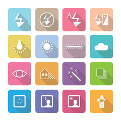 Set of vector photography icons in flat design set 4