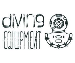 Design logo with lettering diving equipment and divers helmet. Vector illustration eps 10