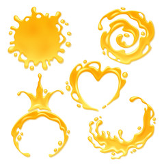 Yellow juice or honey blots set.