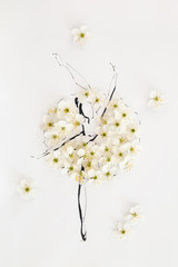 Hand drawn ballerina wearing dress made of natural flowers