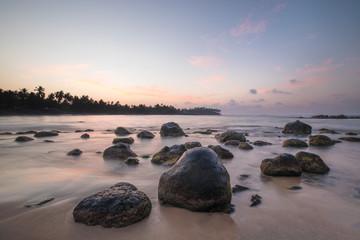Aluminium Prints New Zealand Paradise beach of Sri Lanka at sunrise.