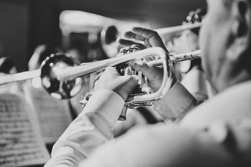 Trumpet in the hands of a musician in the band