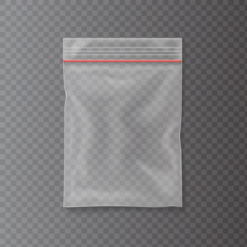 Plastic bag isolated on transparent background. Empty pocket zipper bag. Vector illustration