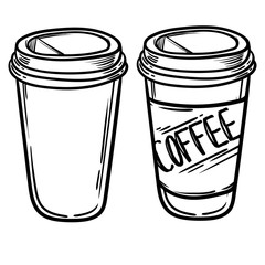 Set of vector glasses with coffee or tea. Hipster Coffee time. Vector Illustration. coffee to go.