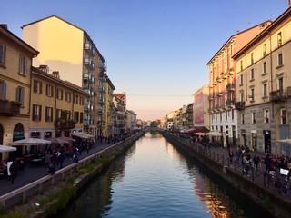 Milano, il Naviglio Grande al tramonto