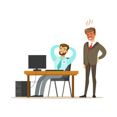 Angry boss yelling at employee. Colorful cartoon character vector