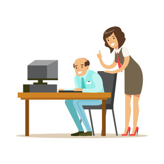 Businessmen and businesswoman working together in office. Subordinate and boss. Colorful cartoon character vector Illustration