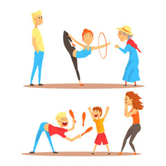 Girl doing gymnastics dance with hoop. Juggler playing with pins. Circus or street actors set of colorful cartoon detailed vector Illustrations