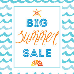 Big summer sale banner template, hand drawn letterig element, seashell, sea star, frame, waves