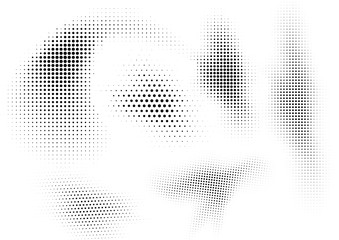 An abstract black and white halftone shapes