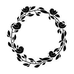 wreath floral decorative icon vector illustration design