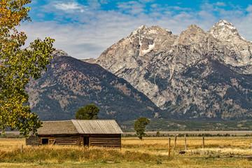 Old Wooden Barn at the Base of Grand Tetons, Wyoming