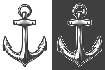 Monochrome anchor vector illustration. Black and white