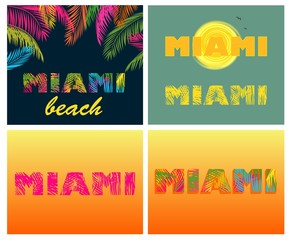 Miami lettering t-shirt prints with palm leaves