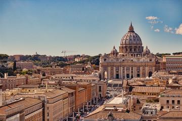 Vatican city. St Peter's Basilica. Panoramic view of Rome and St. Peter's Basilica, Italy.