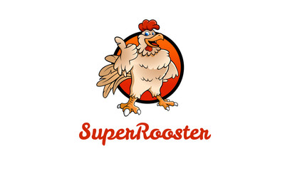 A happy funny Cartoon Super Rooster chicken giving a thumbs up. Cartoon colorful roosters mascots. Vector logo illustration.