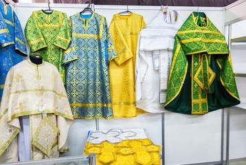 Different solemn slavic orthodox priest's robes
