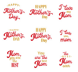 Mothers Day Hand Lettering Calligraphic Inscriptions Set. Red and gold Emblems and Badges Collection Isolated on White. Brush lettering text for Mothers Day cards design. Font Vector Illustration.