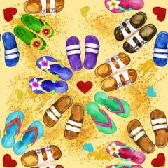 Flip Flops. Watercolor seamless pattern.