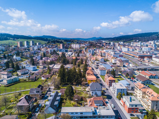 Aerial view on UNESCO heritage city La de Chaux de Fonds