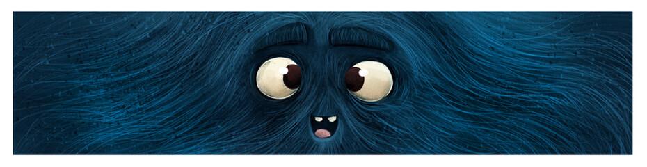 cara de monstruo azul