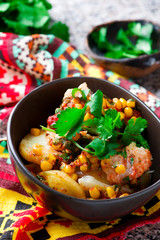 mexican cod and potato stew. selective focus