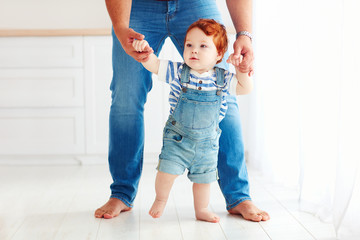 cute toddler baby boy learning to walk with the help of the father