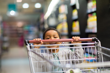 Young boy pushing trolley in grocery store