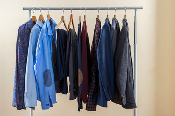 Men's wardrobe on the hanger