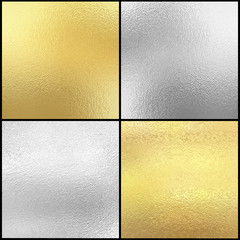 Set of Silver and gold foil texture background