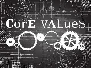 Core Values Blackboard Tech Drawing