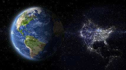 day and night concept, United states of America abstract space