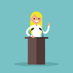 Blonde girl standing behind the tribune and pointing her finger up / flat editable vector illustration
