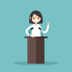 Brunette girl standing behind the tribune and pointing her finger up / flat editable vector illustration