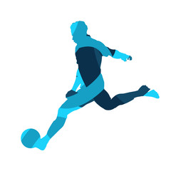 Soccer player, abstract blue vector silhouette