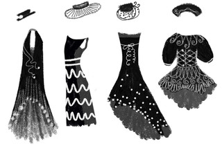 Drawn silhouette of woman black gowns, classical dresses and costumes with fashion hats for night celebration drawn by oil color and watercolor, isolated hand drawn illustration on white background