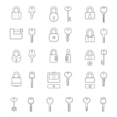 Set of simple vector icons as design elements - metal locks and keys. Security. Isolated on a white background. Vector illustration. Colors are easy to customize.