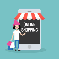 Mobile online shopping concept. young cheerful girl standing with shopping bags under the awning / editable flat vector clip art