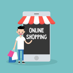 Mobile online shopping concept. young cheerful bearded man standing with shopping bags under the awning / editable flat vector clip art