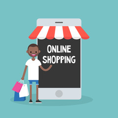 Mobile online shopping concept. young cheerful black guy standing with shopping bags under the awning / editable flat vector clip art