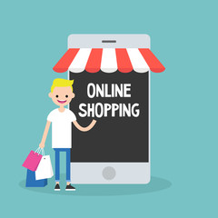 Mobile online shopping concept. young cheerful blond boy standing with shopping bags under the awning / editable flat vector clip art