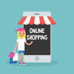 Mobile online shopping concept. young cheerful blond girl standing with shopping bags under the awning / editable flat vector clip art