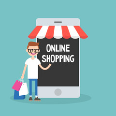 Mobile online shopping concept: young cheerful nerd standing with shopping bags under the awning / editable flat vector clip art