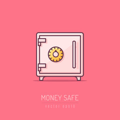 Bank money safe vector icon illustration in line art style