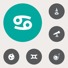 Set Of 6 Astronomy Icons Set.Collection Of Crab, Lunar, Comet And Other Elements.