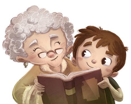 niño leyendo un libro con abuela
