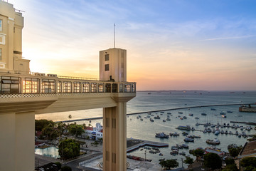 Elevador Lacerda (Lacerda Elevator) at sunset - Salvador, Bahia, Brazil