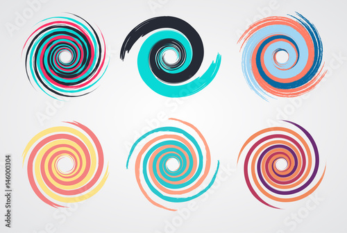 Color Spiral Swirl Set Circle With Brush In Flat Style