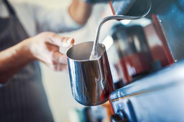Preparing coffee in the coffee shop